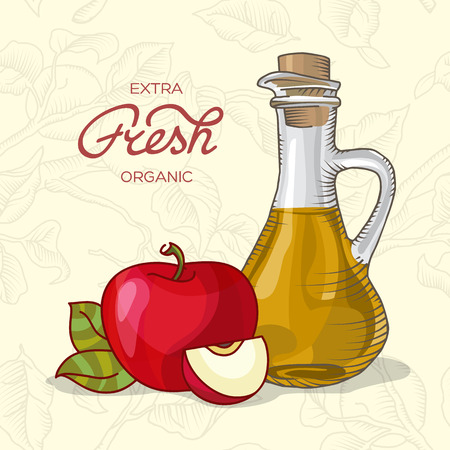 decanter: Decanter of Apple Juice with apple vector illustration Illustration