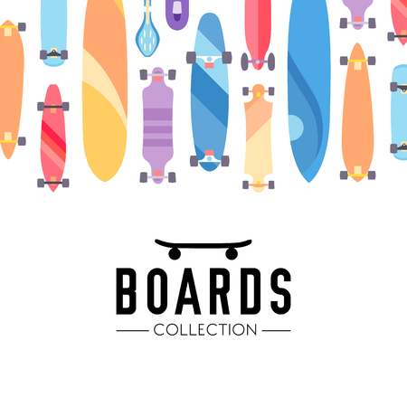 skateboarding: Skateboard and skateboarding collection background with skateboards