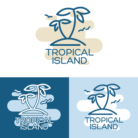 palmtree: Vector illustration - Two palm-tree on the tropical island. Three different variants