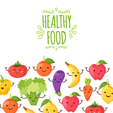 Healty food cartoon representing some funny vegetables