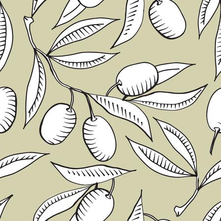 Seamless avec la branche olive et blanc Banque d'images - 59990973