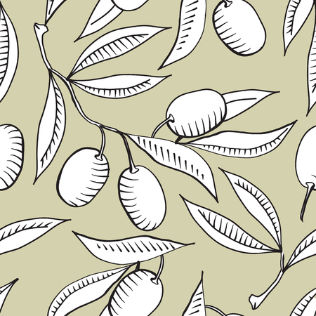 Seamless pattern with Olive branch and white olive