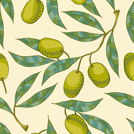 Seamless pattern with Olive branch and green olive