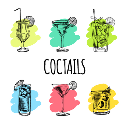 hand set: Vector hand drawn set of cocktails and alcohol drinks. Sketch.