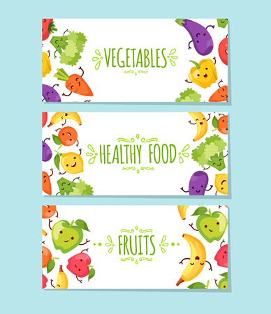 healty lifestyle: Banners set of healty food cartoon representing some funny vegetables Illustration