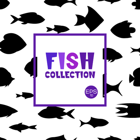 Fish collection. Cartoon style. Illustration of different fish