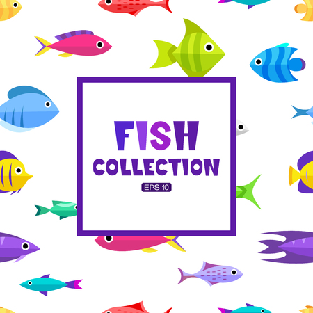 plunging: Fish collection. Cartoon style. Illustration of different fish