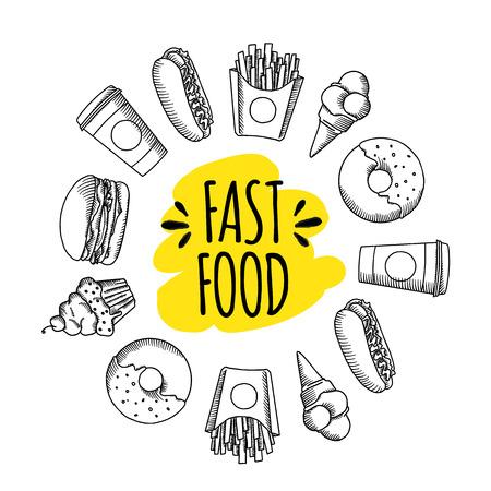Fast food. Ensemble d'icônes alimentaires vecteur de dessin animé. frites, hamburgers, frites de patates douces, hot-dog, icecream Banque d'images - 60061378