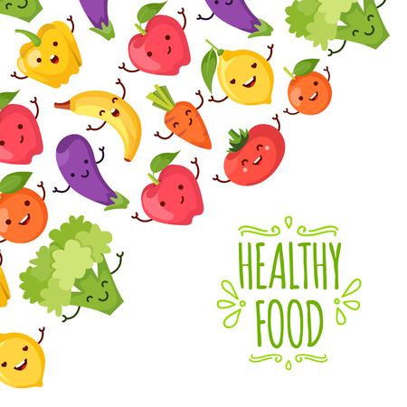 healty living: Healty food cartoon representing some funny vegetables