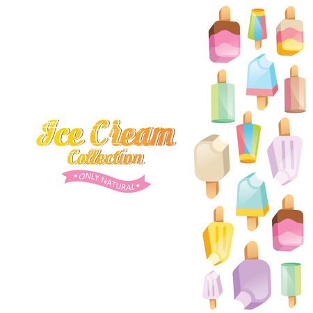 ice cream sundae: Ice cream vector. Ice cream illustration. Ice cream sundae on background. Ice cream set. Image of vanilla ice cream.