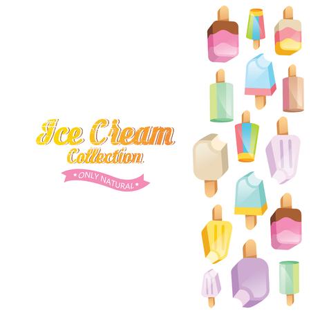 icecream sundae: Ice cream vector. Ice cream illustration. Ice cream sundae on background. Ice cream set. Image of vanilla ice cream.
