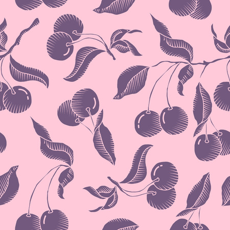 Vector hand drawn cherry branch with cherries and leaves. seamless pattern