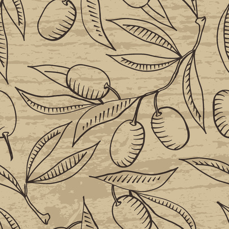 oil crops: Seamless pattern with Olive branch and olive