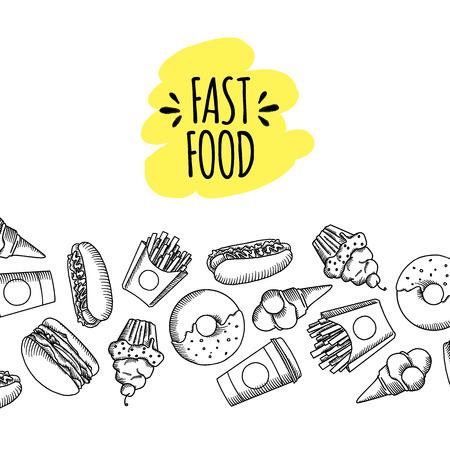 Fast food. Ensemble d'icônes alimentaires vecteur de dessin animé. frites, hamburgers, frites de patates douces, hot-dog, icecream Banque d'images - 60757198