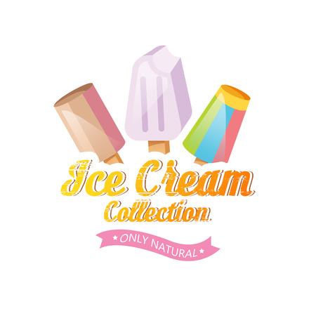 Ice cream vector. Ice cream illustration. Ice cream sundae on background. Ice cream set. Image of vanilla ice cream.