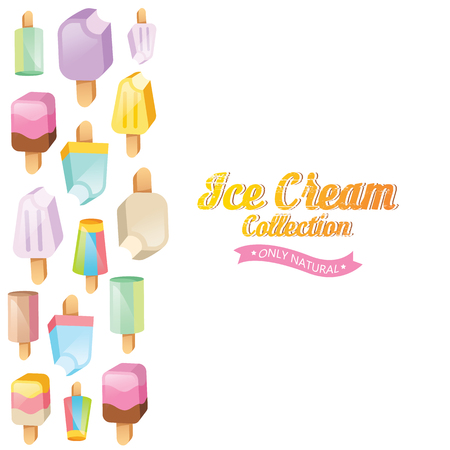 Ice cream vector. Ice cream illustration. Ice cream sundae on background. Ice cream set. Image of vanilla ice cream.