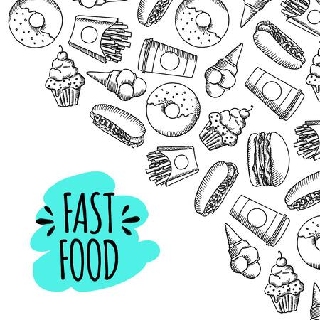 Fast food. Ensemble de vecteur de bande dessinée de fond .. frites, hamburger, frites de patates douces, icecream hot-dog Banque d'images - 60540327