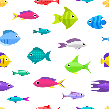 marinelife: Fish collection. Cartoon style. Seamless pattern with different fish Illustration