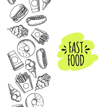 Fast food. Ensemble de vecteur de bande dessinée de fond .. frites, hamburger, frites de patates douces, icecream hot-dog Banque d'images - 60619891