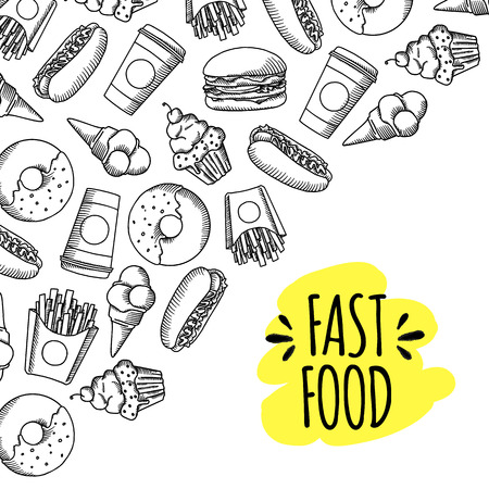 Fast food. Set of cartoon vector background.. french fries, hamburger, sweet potato fries, hot dog icecream