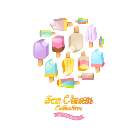 Ice cream collection vector background. Various ice cream on a stick located on a circle