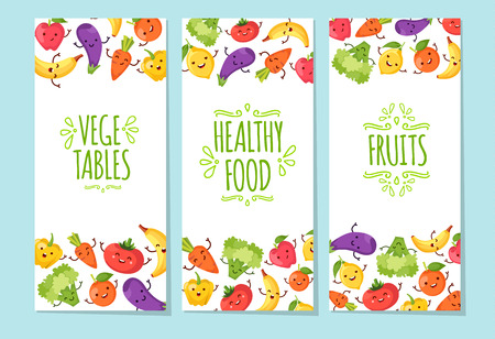 banners set of healty food cartoon representing some funny vegetables