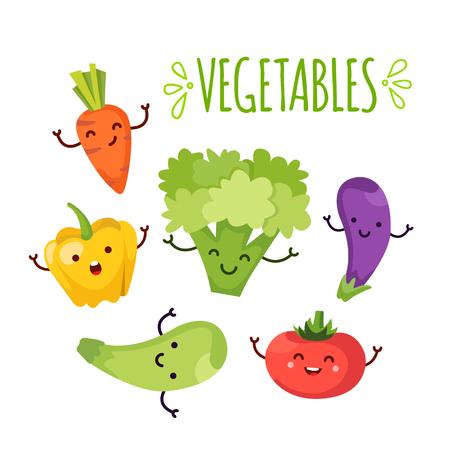 Gezonde voeding cartoon vertegenwoordigt een aantal grappige groenten