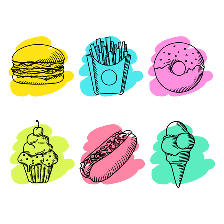 Fast food. Set of cartoon vector food icons. french fries, hamburger, sweet potato fries, hot dog, icecream