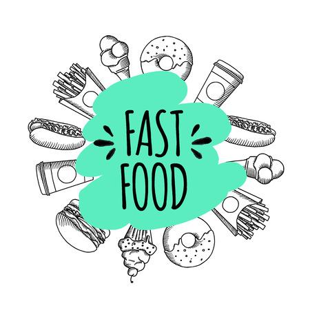 Comida rápida. Conjunto de vectores de fondo de dibujos animados .. patatas fritas, hamburguesas, batatas fritas, helado de hot dogs Vectores