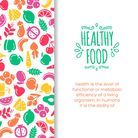 healty living: Healty food background representing. vegetables and fruits icons Illustration