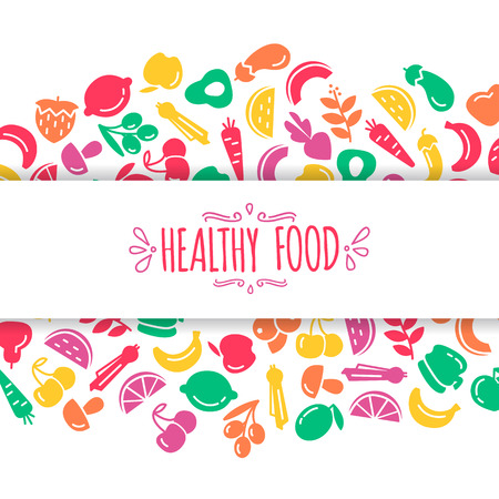 Healty food background representing. vegetables and fruits icons Illustration
