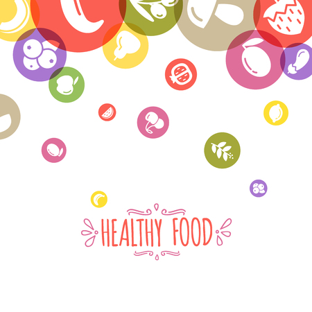 cartoon tomato: Healty food background representing. vegetables and fruits icons Illustration