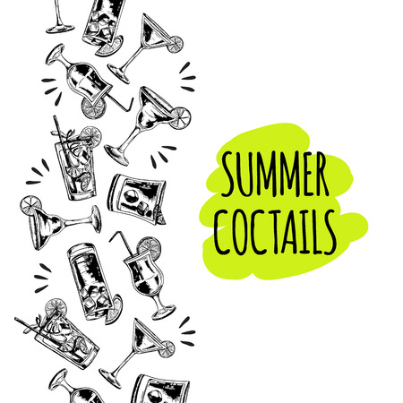 Background with vector cocktails on white background