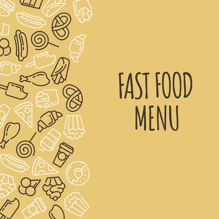 Fast Food-Menü. Set Von Cartoon-Vektor-Hintergrund .. Französisch ...