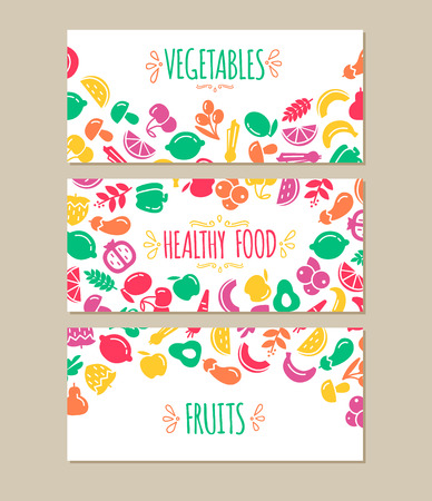 healty living: Banners set of healty food cartoon representing some funny vegetables Illustration