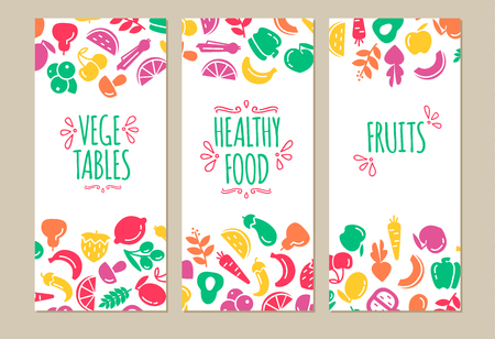 healty food: Banners set of healty food cartoon representing some funny vegetables Illustration