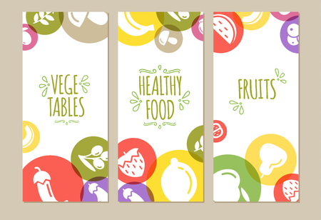 Banners set of healty food cartoon representing some funny vegetables Illustration