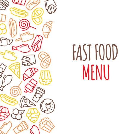 Menu Restauration rapide. Ensemble de vecteur de bande dessinée de fond .. frites, hamburger, frites de patates douces, icecream hot-dog Banque d'images - 61002675