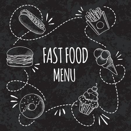 Fast Food-Menü. Set Von Cartoon-Vektor-Banner Gesetzt. Französisch ...