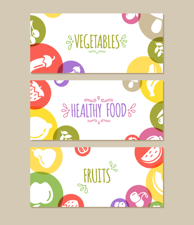 Healty food banners set representing. vegetables and fruits icons Illustration