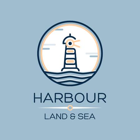 beach panorama: Flat isometric lighthouse icon on blue sea, illustration vector background