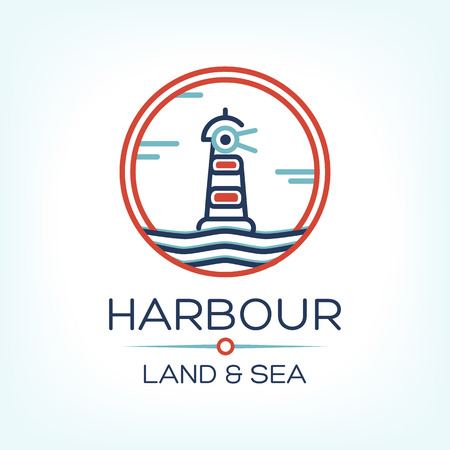 panoramic beach: Flat isometric red lighthouse icon on blue sea, illustration vector background