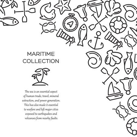 Maritime collection. Sea theme vector background