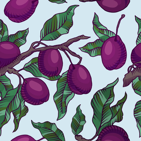 Vector seamless pattern of plum branch with fruit of plum