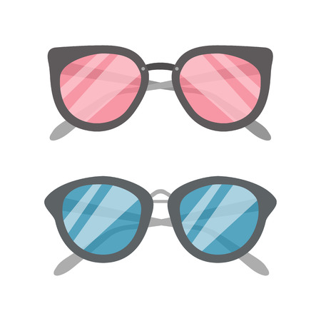 Two flat vector Sunglasses icons set
