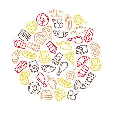 Fast food menu. Set of cartoon vector background.. french fries, hamburger, sweet potato fries, hot dog icecream