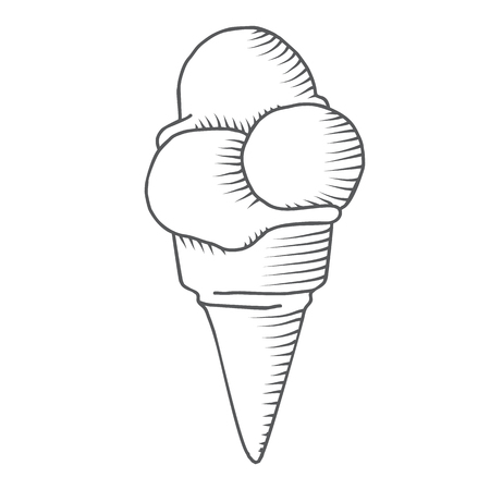black and white cone: Hand-drawn icecream in cone sketch, black and white, isolated vector illustration.