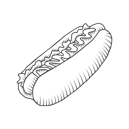 dieting: Vector hotdog with mustard. Illustration isolated on the white background