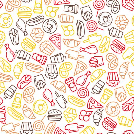 Fast food menu. Set of cartoon vector seamless pattern. french fries, hamburger, sweet potato fries, hot dog icecream Ilustração
