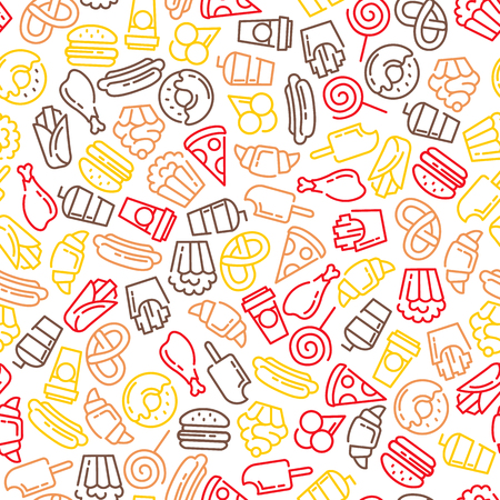 Fast food menu. Set of cartoon vector seamless pattern. french fries, hamburger, sweet potato fries, hot dog icecream Stock Illustratie